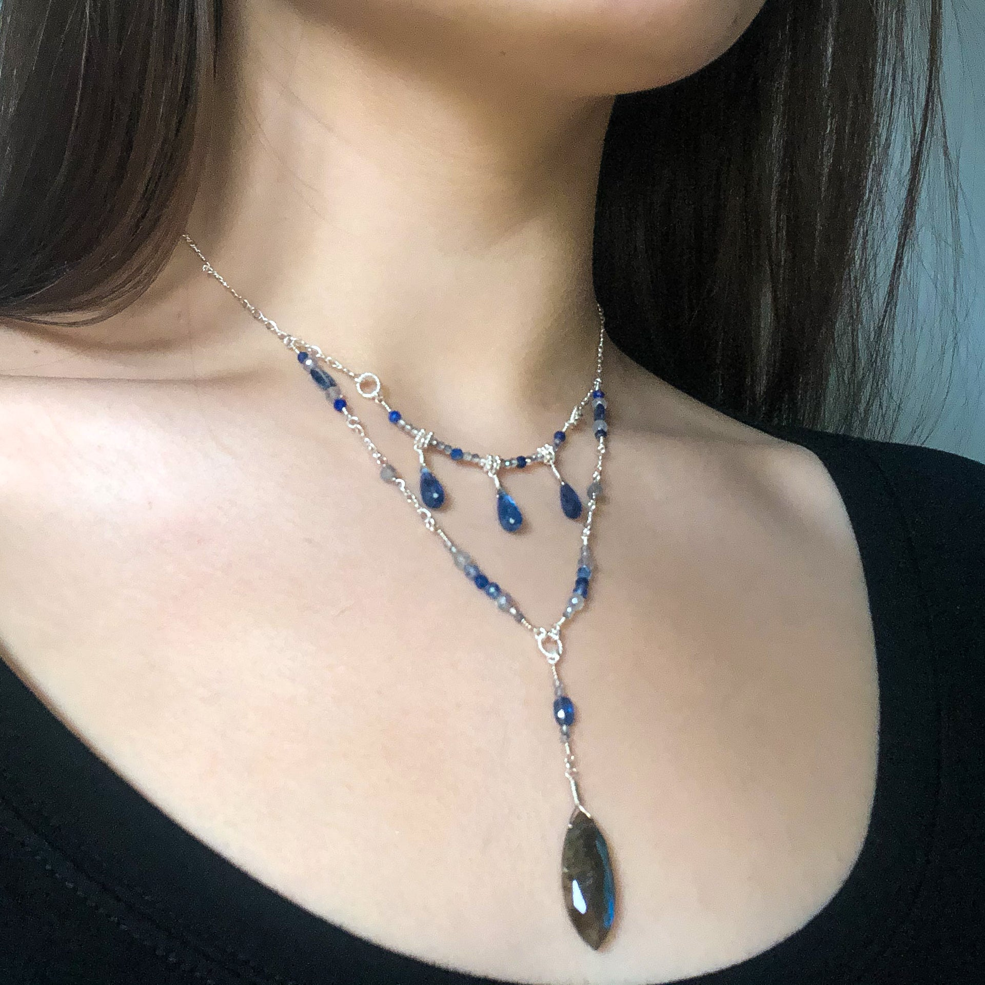 """Drops of Sky"" Necklace and Infinity Pendant Set"
