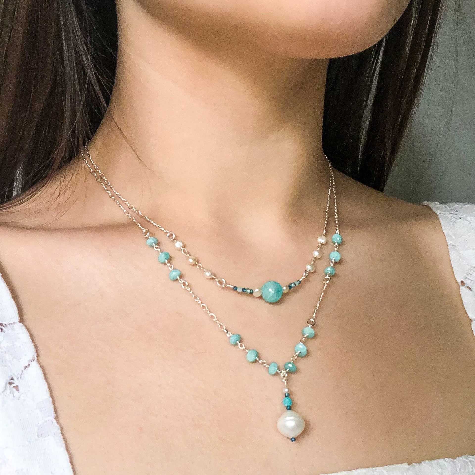 """Glacier"" Double Necklace and Infinity Pendant Set"