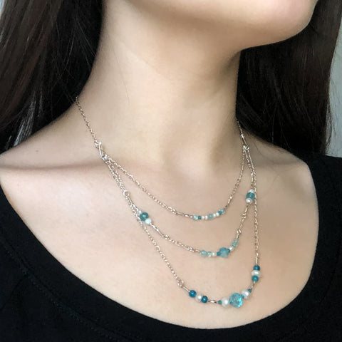 """Ocean Waves"" Necklace and Infinity Pendant Set"
