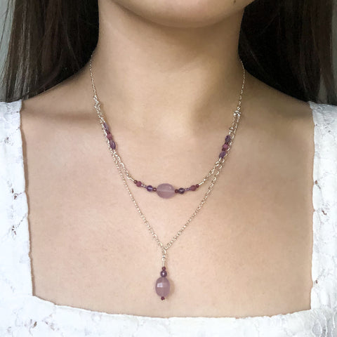 """Violet"" Necklace and Infinity Pendant Set"