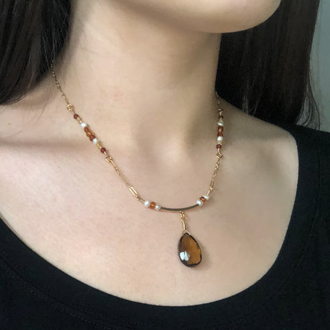 """Autumn"" Necklace and Infinity Pendant Set"