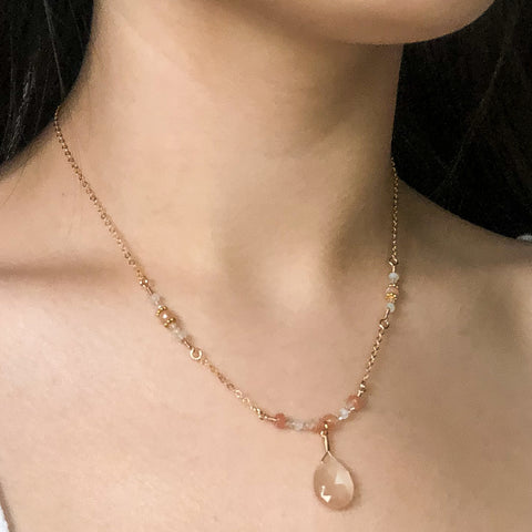 """Blush"" Necklace and Infinity Pendant Set"