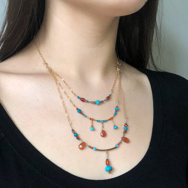 """Island Sunset"" Necklace and Infinity Pendant Set"