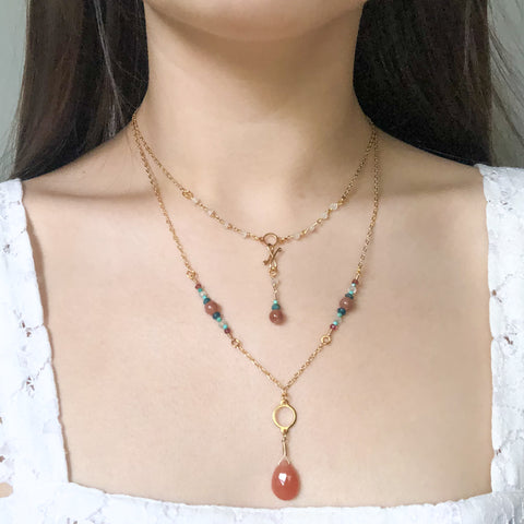 """Melon"" Necklace and Infinity Pendant Set"