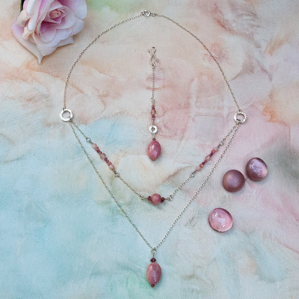 """Rosy"" Necklace and Infinity Pendant Set"