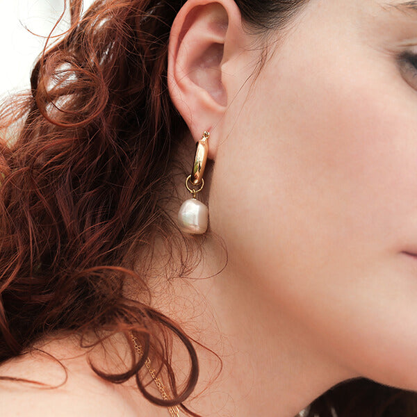 Ana Luisa Earrings Hoop Earrings Pearl Hoop Earrings Sara Gold
