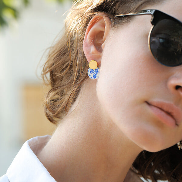 Ana Luisa Earrings Hoops Earrings Enamel Earrings Mini Kinoko Marble Blue Gold