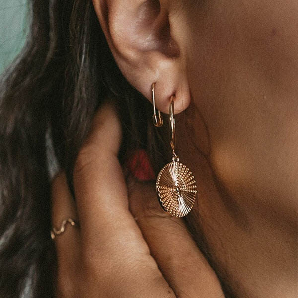 Ana Luisa Earrings Hoop Earrings Coin Hoop Earrings Michelle Gold