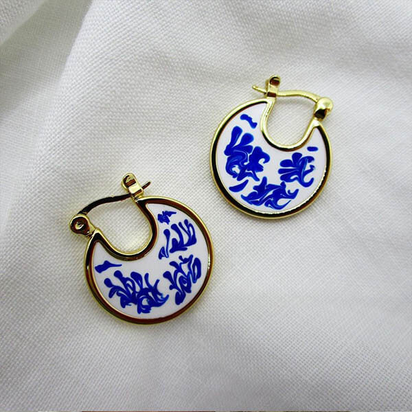 Ana Luisa Earrings Hoop Earrings Enamel Earrings Hana Marble Blue Gold