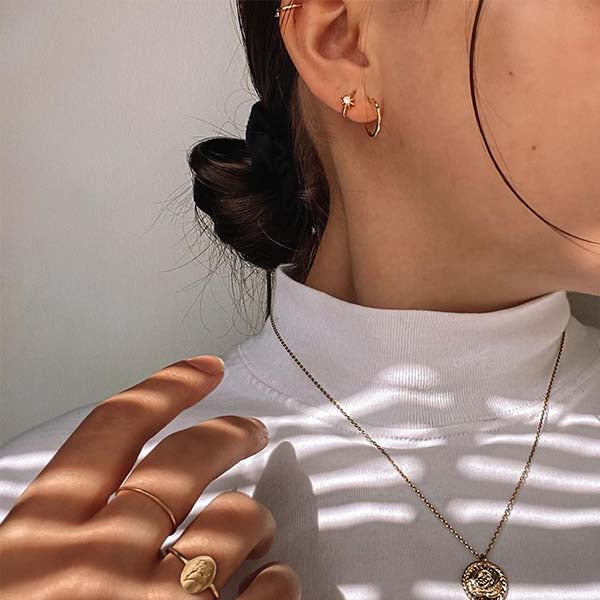 Ana Luisa Earrings Hoop Earrings Sun Huggie Hoops Elios Gold