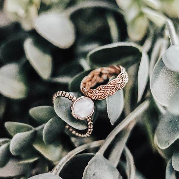 Ana Luisa Jewelry Rings Adjustable Moonstone Ring Rose Gold