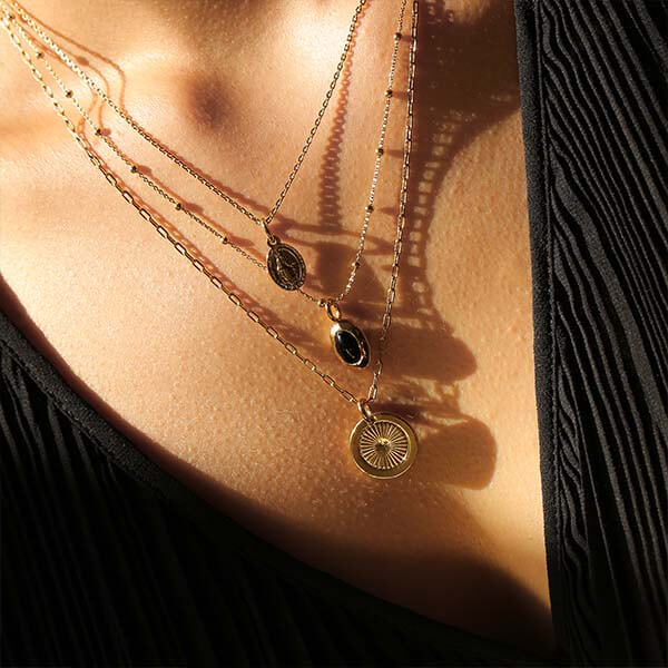 Ana Luisa Necklaces Layered Necklaces Onyx Set Ana Black Gold