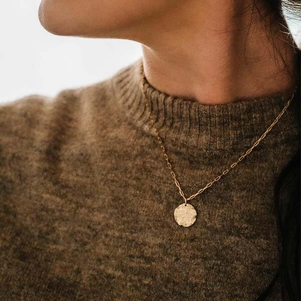 Ana Luisa Jewelry Necklaces Layered Necklaces Small Textured Coin Margot Gold