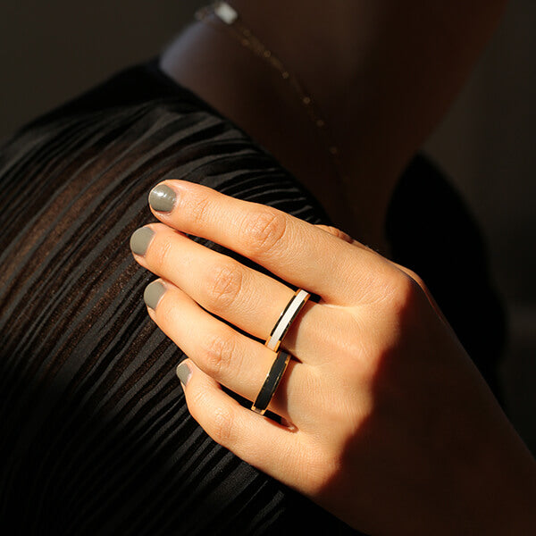 Ana Luisa Rings Stacking Rings Mecca Lacquer Off White Gold