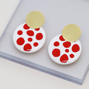 Enamel Earrings - Kinoko Red