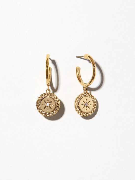 Ana Luisa Earrings Hoop Earrings Coin Hoop Earrings Hazel Gold
