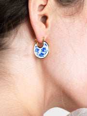 Enamel Earrings - Hana Marble Blue