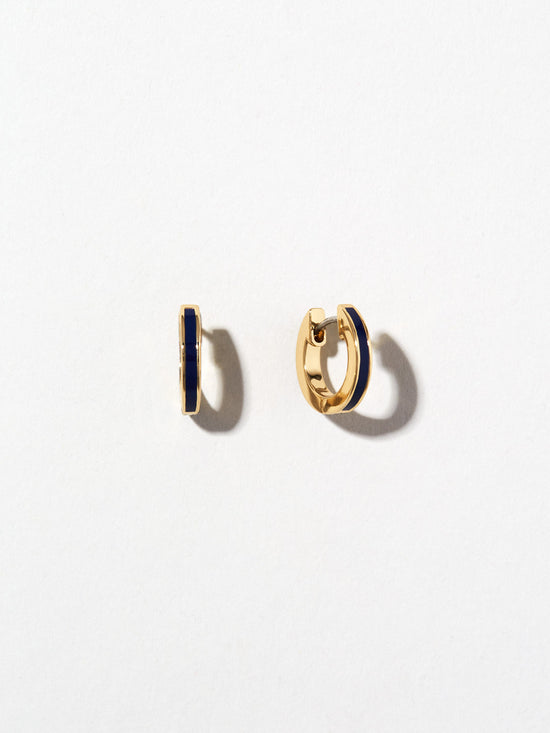Ana Luisa Earrings Hoop Earrings Enamel Huggie Hoops Jenny Navy Gold