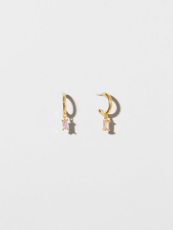 Ana Luisa Earrings Hoop Earrings Linear Drop Earrings Isabella Solo Pink Silver