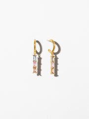 Ana Luisa Earrings Hoop Earrings Linear Drop Earrings Isabella Trio Pastel Silver