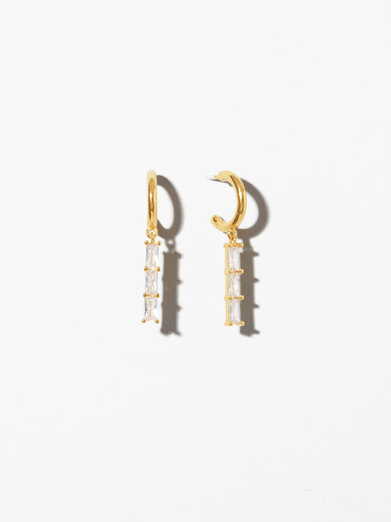 Ana Luisa Earrings Hoop Earrings Linear Drop Earrings Isabella Trio White Silver