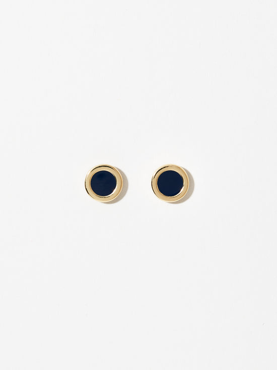 Ana Luisa Earrings Studs Delicate Earrings Lacquer Studs Polka Navy Gold