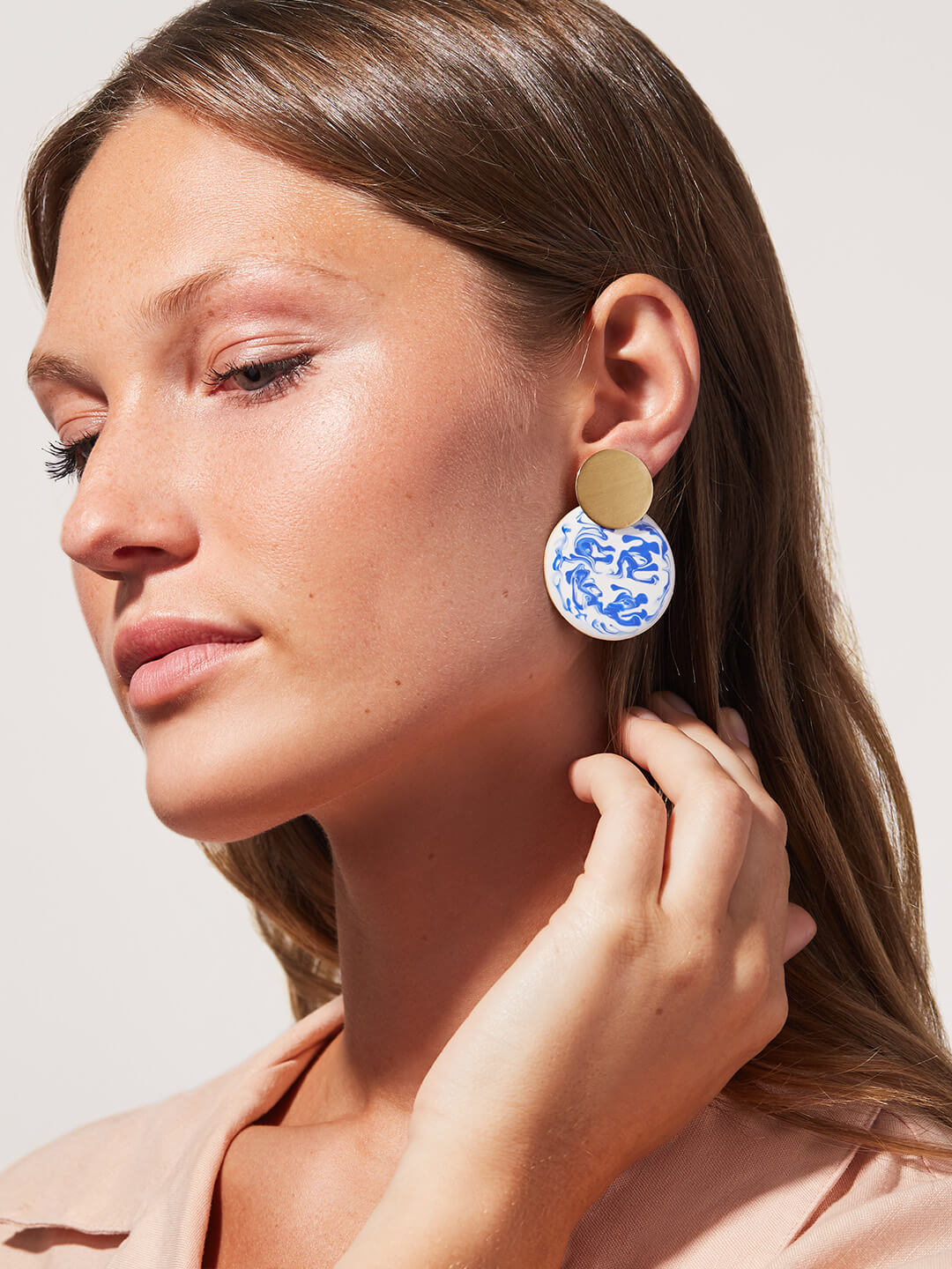 Ana Luisa Jewelry Earrings Hoop Earrings Kinoko Marble Gold Blue
