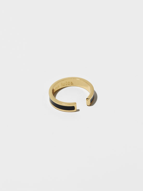 Ana Luisa Rings Stacking Rings Mecca Lacquer Black Gold