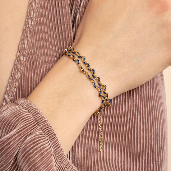 Ana Luisa Bracelets Chain Bracelets Tessa Friendship Navy Blue Gold