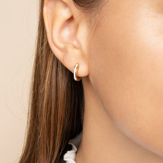 Ana Luisa Earrings Hoop Earrings Enamel Huggie Hoops Jenny Off White Gold