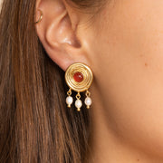 Ana Luisa Earrings  Pearl Earrings Red Stone Stud Earrings Raphaelle Gold