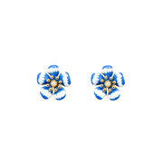 Ana Luisa Earrings Studs Delicate Earrings Iris Pearl Gold Blue