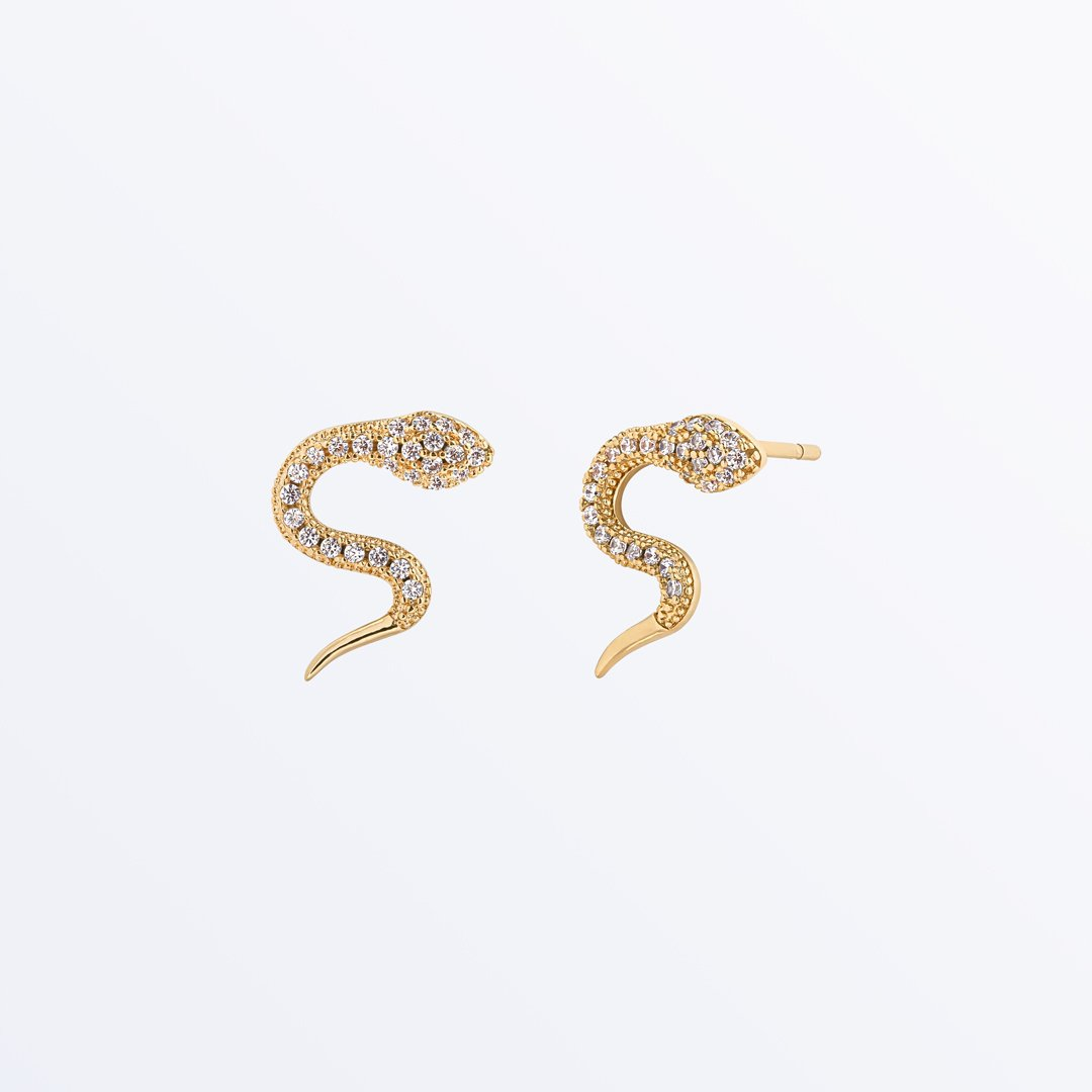 Ana Luisa Earrings Studs Delicate Earrings Snake Earrings Conda Zirconia Gold