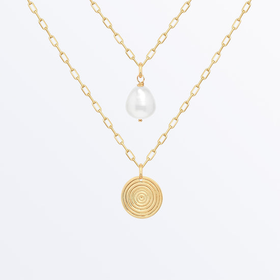 Ana Luisa Necklaces Layered Necklaces Spiral Coin and Pearl Necklace Set Ines