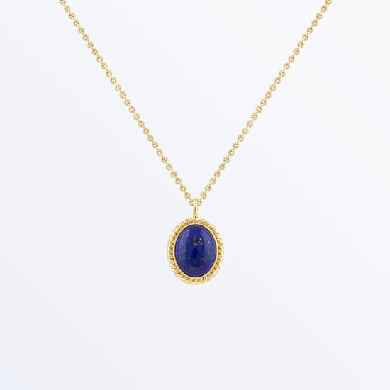 Ana Luisa Necklaces Pendant Necklace Gemstone Oval Necklace Axel Lapis Lazuli Gold