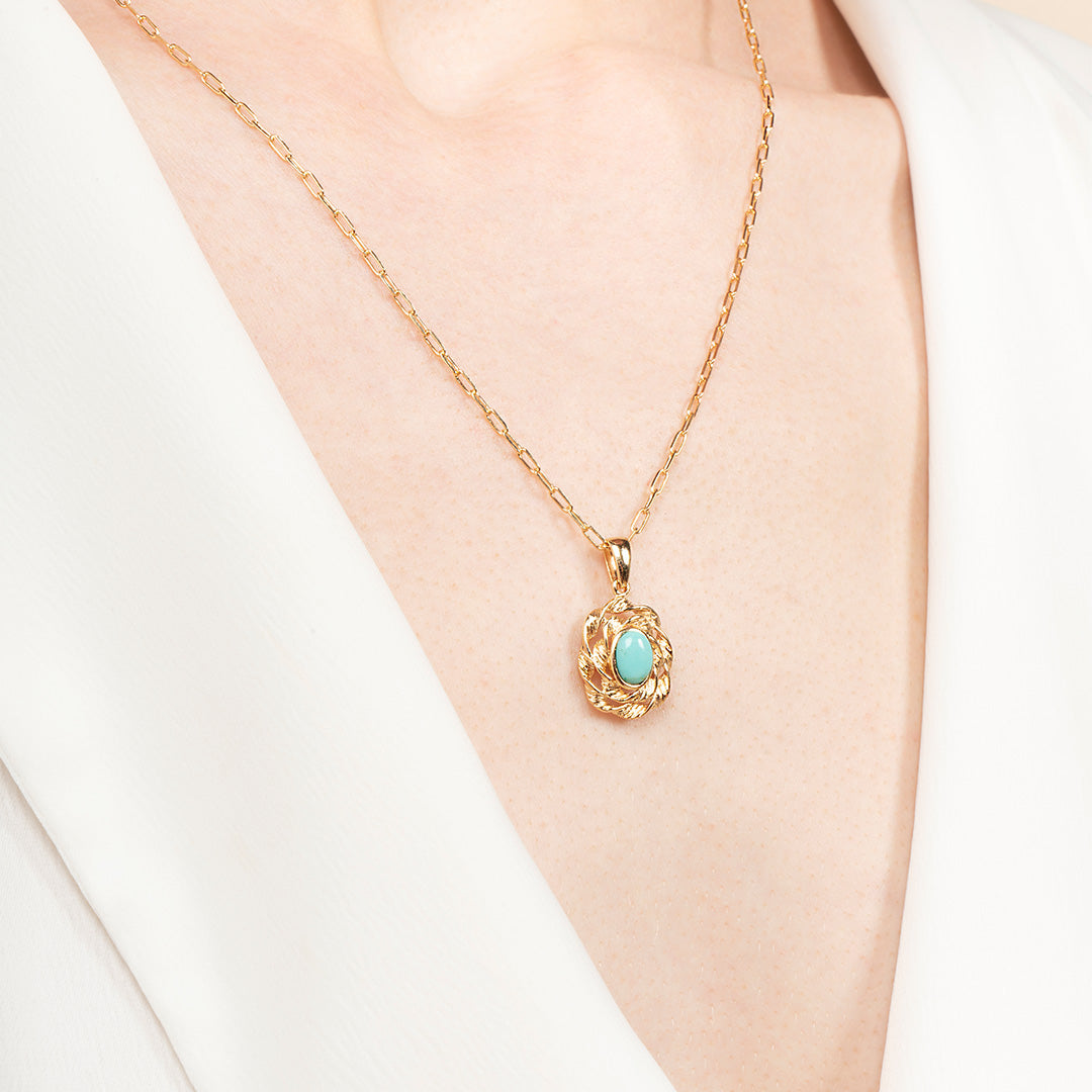 Ana Luisa Necklaces Pendant Necklaces Oval Turquoise Pendant Marianne