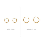 14K Gold Earrings - Mini Twisted Hoops