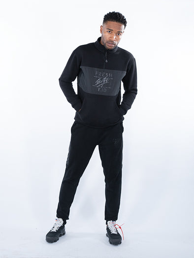 Fresh Ego Kid Black Half Zip Tracksuit Set