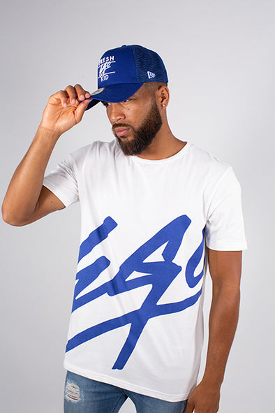 EGO T-SHIRT BLUE & NEW ERA ROYAL BLUE A FRAME MESH TRUCKER SET