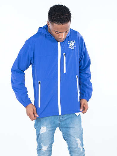 FRESH EGO KID LIGHTWEIGHT REFLECTIVE ZIP WATERPROOF JACKET BLACK (ROYAL BLUE)