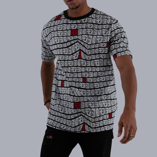All Over Print Summer Set T-Shirt - Black