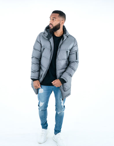 FRESH EGO KID LONG PUFFER JACKET – GREY