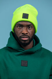 Badge logo beanie in lime