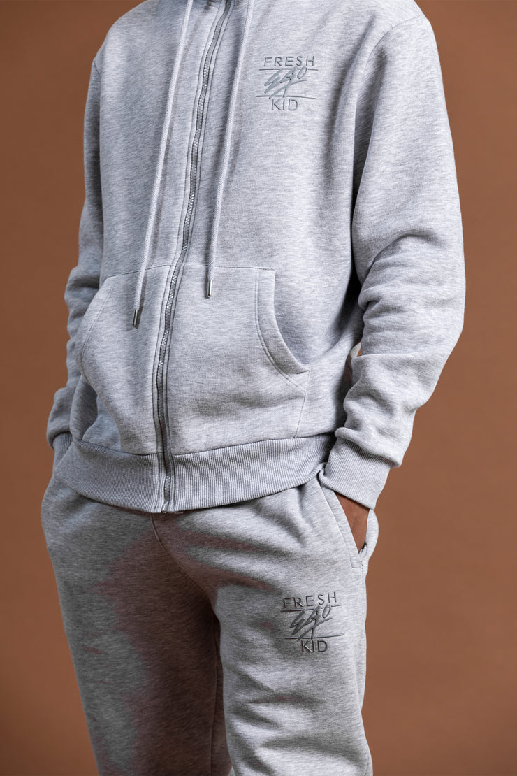 Core chest logo zip hoodie in grey