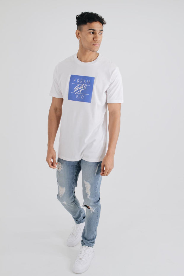 Box Logo T-Shirt - White/Blue