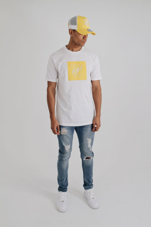 Box Logo T-Shirt – White/Yellow