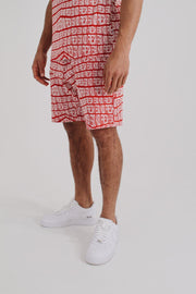 All Over Print Summer Set Shorts - Red