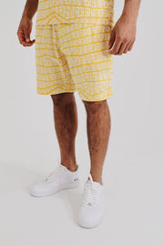 All Over Print Summer Set Shorts - Yellow