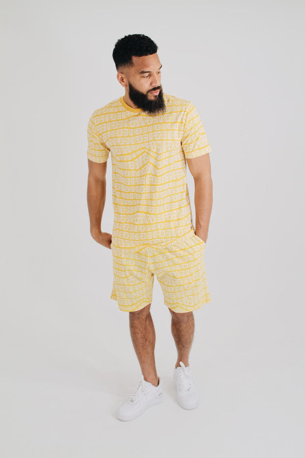 All Over Print Summer Set T-Shirt - Yellow