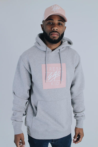 Box Logo Hoody - Grey/Pink
